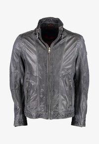 DNR Jackets - MIT STEHKRAGEN - Leather jacket - anthracite - 0