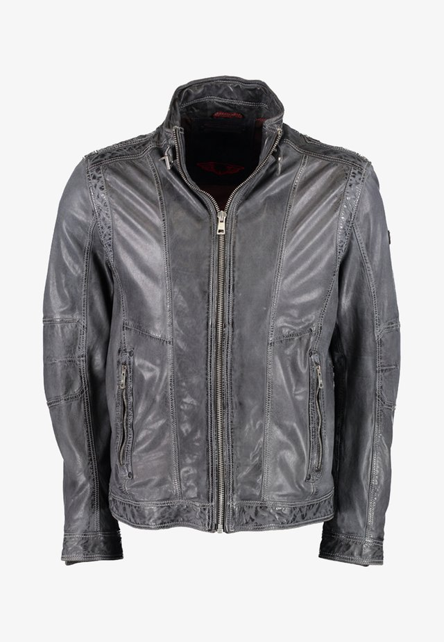 MIT STEHKRAGEN - Leather jacket - anthracite