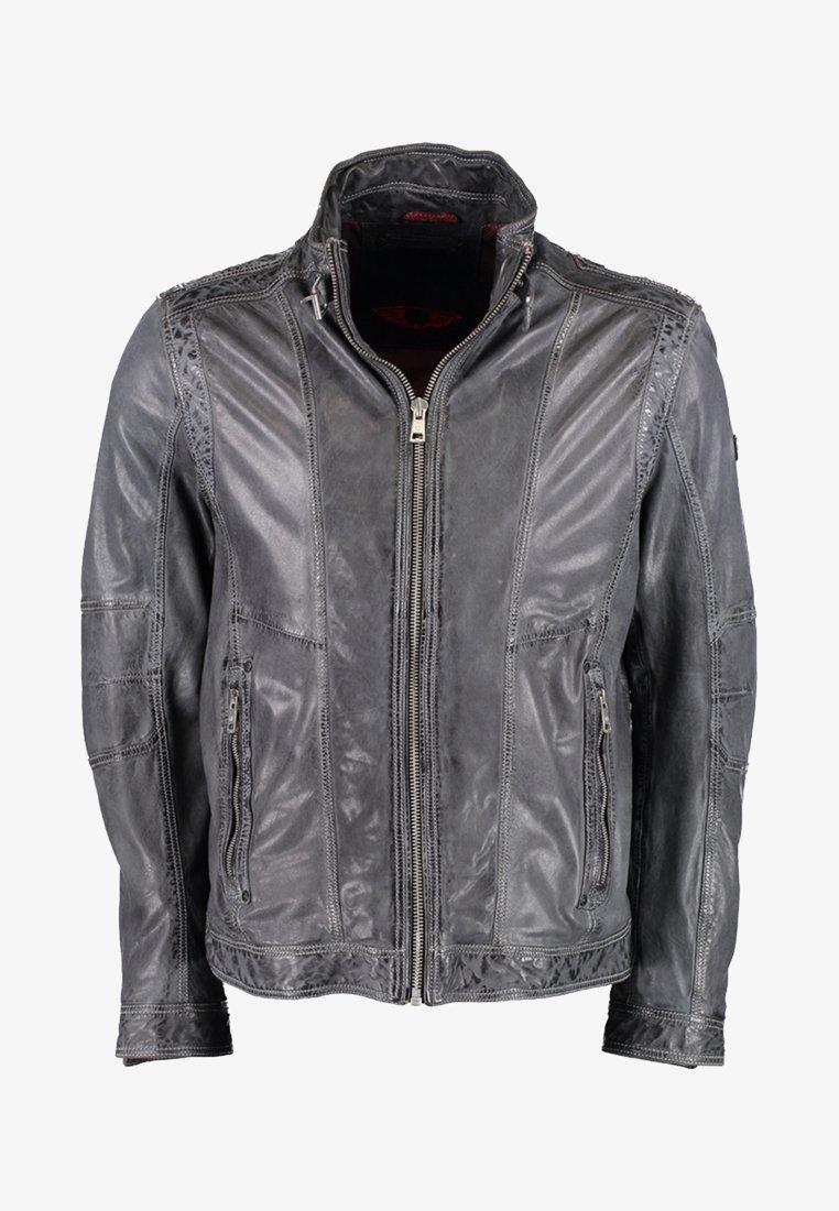 DNR Jackets - MIT STEHKRAGEN - Leather jacket - anthracite