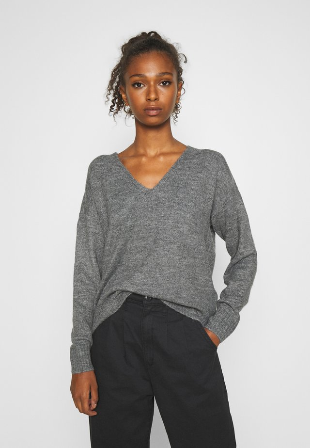 JDYDREA VNECK - Sweter - dark grey melange