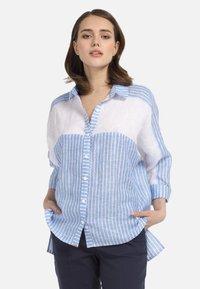 HELMIDGE - Button-down blouse - weiss hellblau - 4
