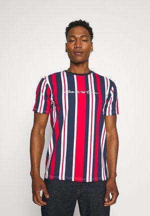 NESTON STRIPE TEE - Print T-shirt - navy/red/white