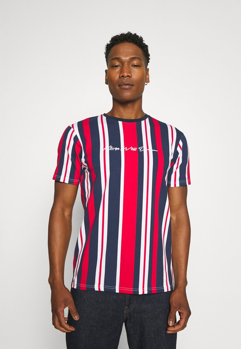 Kings Will Dream - NESTON STRIPE TEE - Print T-shirt - navy/red/white