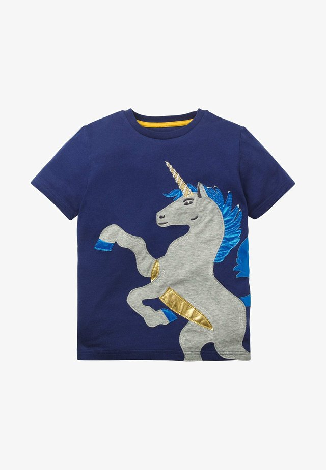 METALLIC-APPLIKATION - Print T-shirt - schuluniform-navy, einhorn