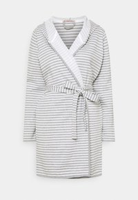 Anna Field - STRIPE FLANNEL BATHROBE  - Župan - grey/white - 4