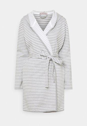 STRIPE FLANNEL BATHROBE  - Dressing gown - grey/white