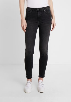 KAJ HIGH WAIST - Jeans Skinny Fit - noir fade anthracite wash