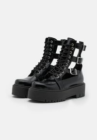 Topshop - BABE CUT OUT BUCKLE BOOT - Lace-up ankle boots - black - 2