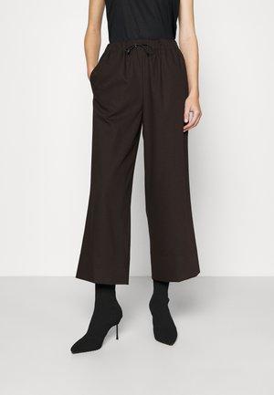 WIDE LEG TRACK PANTS - Trousers - panda/chocolate brown