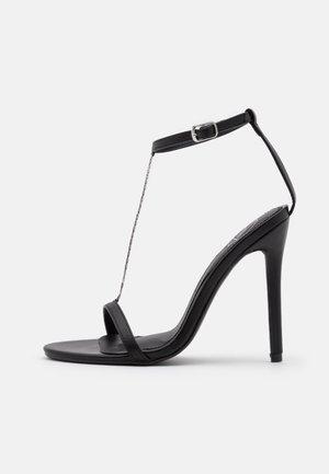 SIMPLE CHAIN T BAR  - High heeled sandals - black