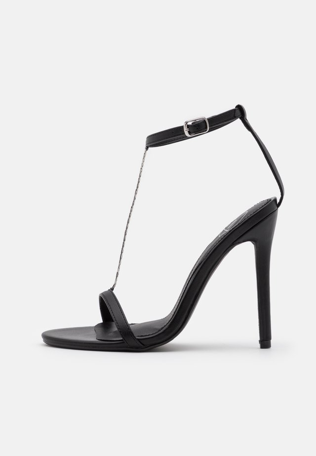 SIMPLE CHAIN T BAR  - High heeled sandals - black