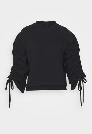 JUMPER WITH GATHERED SLEEVE AND CORD DETAIL - Mikina - black