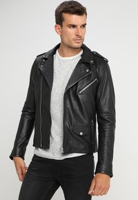 Goosecraft - GALLERY - Leather jacket - black/offwhite - 3