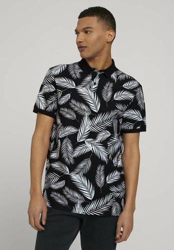 Polo shirt - black white palm leaves print
