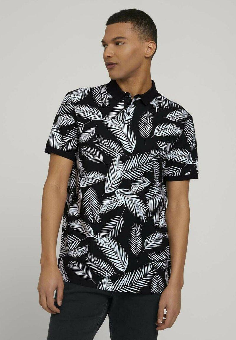 TOM TAILOR DENIM - Poloshirt - black white palm leaves print