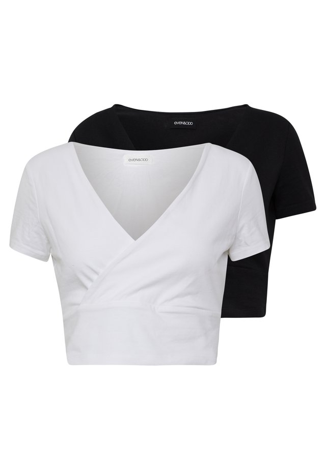 2 PACK - Print T-shirt - black/white