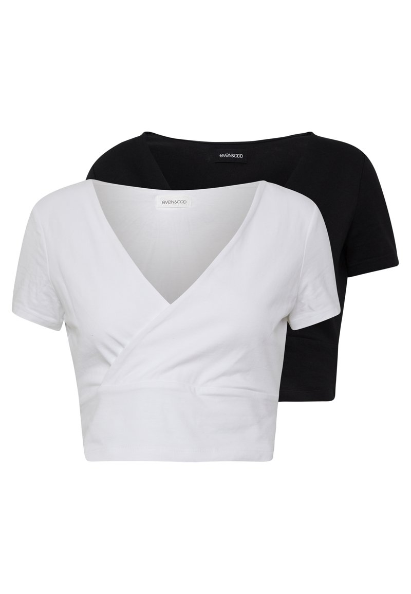 Even&Odd - 2 PACK - T-shirt con stampa - black/white