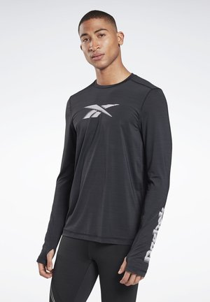 RUN ACTIVCHILL LONG SLEEVE GRAPHIC T-SHIRT - Long sleeved top - black