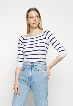 Long sleeved top - white/dark blue