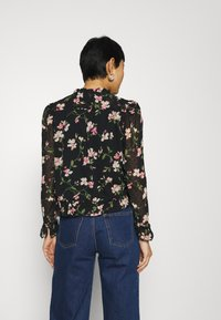 Dorothy Perkins - FLORAL DOBBY TIE NECK - Button-down blouse - black - 2