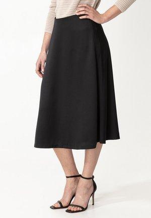 SATEEN - A-line skirt - black