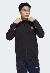 adidas Performance - ESSENTIALS COMFORT HOODED TRACK TOP - Zip-up hoodie - black - 0