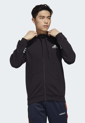 ESSENTIALS COMFORT HOODED TRACK TOP - Huvtröja med dragkedja - black