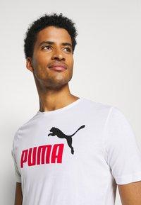 Puma - LOGO TEE - Print T-shirt - white - 3