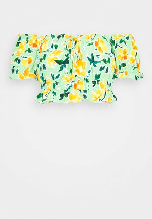 Pusero - green painted floral