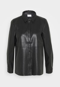 VINALIA COATED - Button-down blouse - black