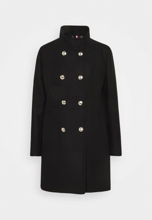 WOOL BLEND FUNNEL COAT - Classic coat - black