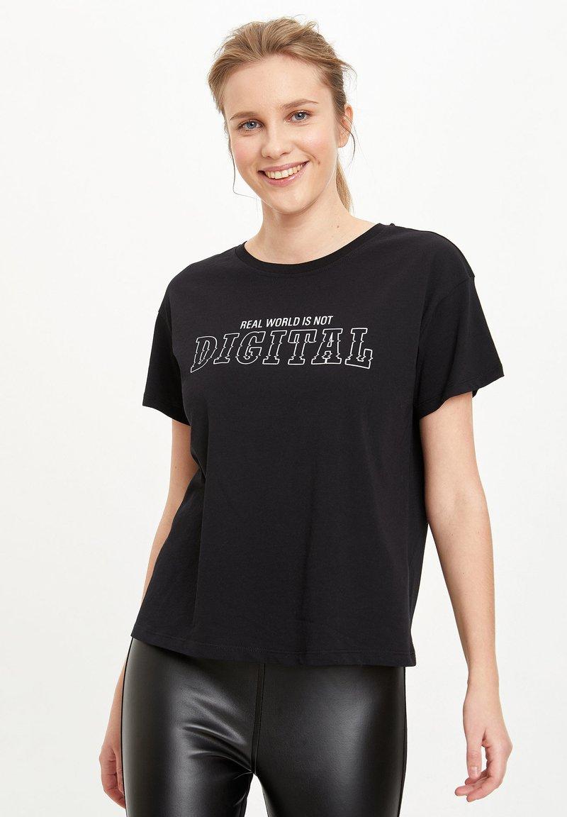 DeFacto - Print T-shirt - black