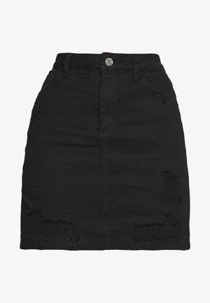 DISTRESSED SKIRT - Denim skirt - black