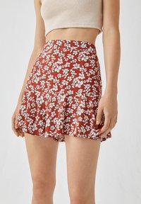 PULL&BEAR - MIT BLUMENPRINT - A-line skirt - light brown - 4