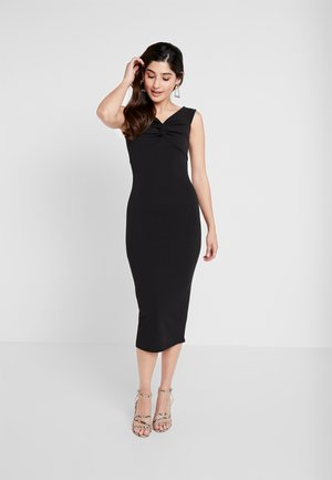 BARDOT TWIST DETAIL MIDI DRESS - Shift dress - black