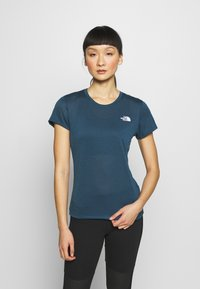 The North Face - WOMENS REAXION CREW - Basic T-shirt - blue wing teal heather - 0
