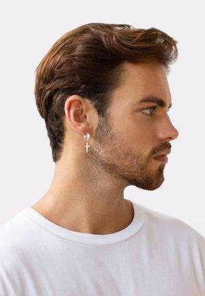 CREOLE KREUZ SCHARNIER SINGLE - Earrings - silber
