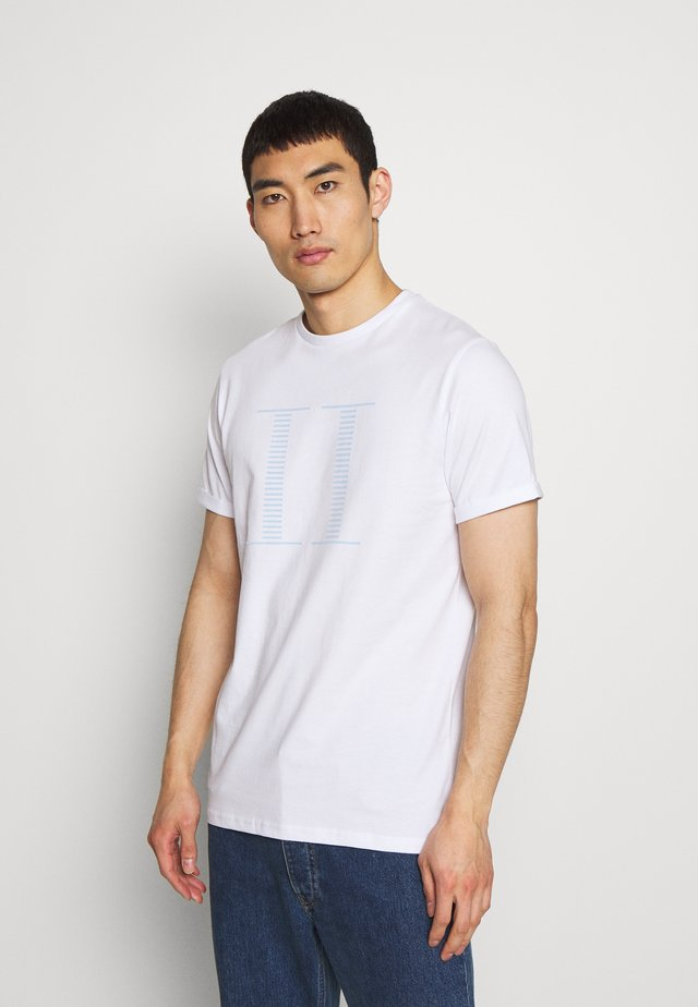 STRIPE ENCORE - Print T-shirt - white/sky blue