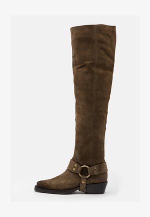 NO SCENE - Over-the-knee boots - moss