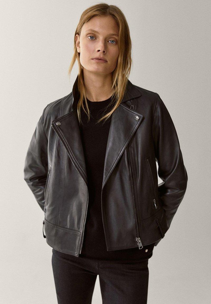 Massimo Dutti - Veste en cuir - black