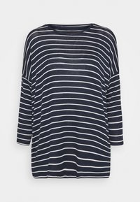 navy blazer/with snow white stripes