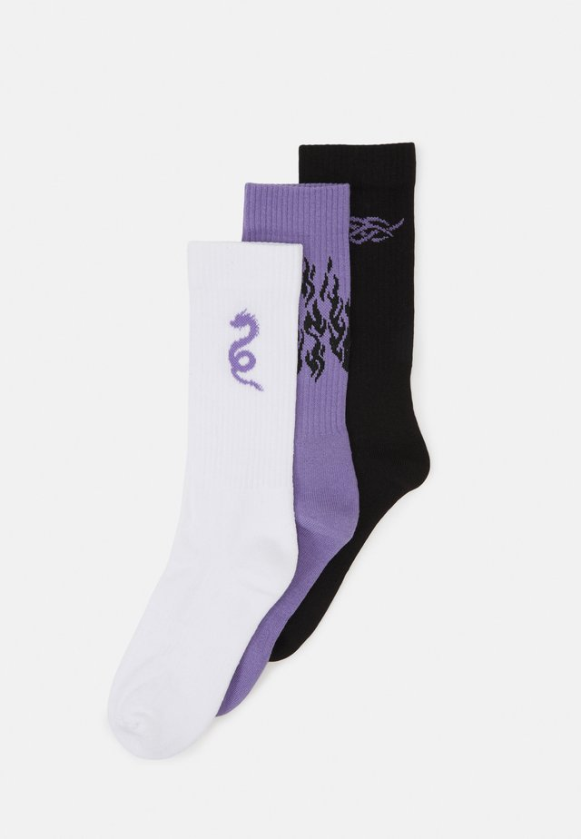 NEO GOTH 3 PACK - Calcetines - black/purple /off-white