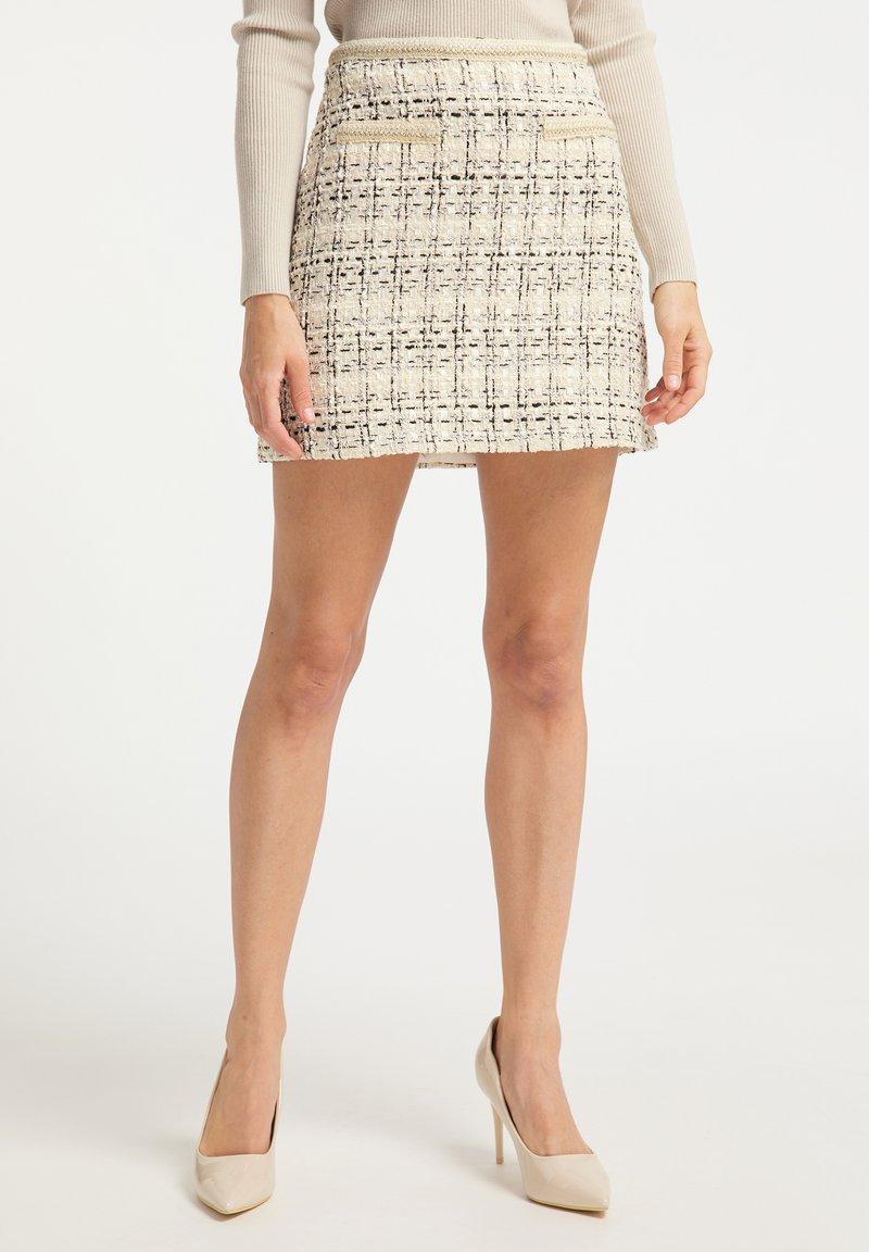 faina - TWEED - A-line skirt - champagner