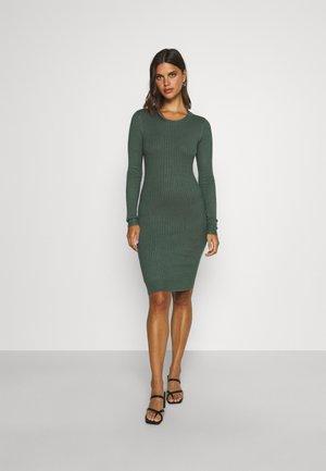 knit mini wide rib basic dress - Pouzdrové šaty - green