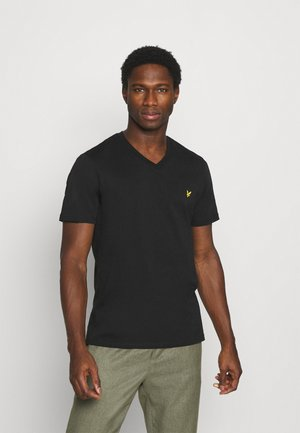 V NECK - Basic T-shirt - true black