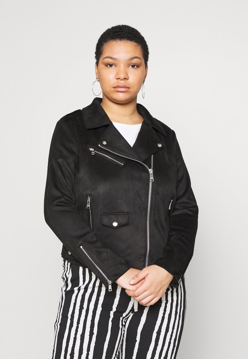 ONLY Carmakoma - CARSHERRY BONDED BIKER - Faux leather jacket - black
