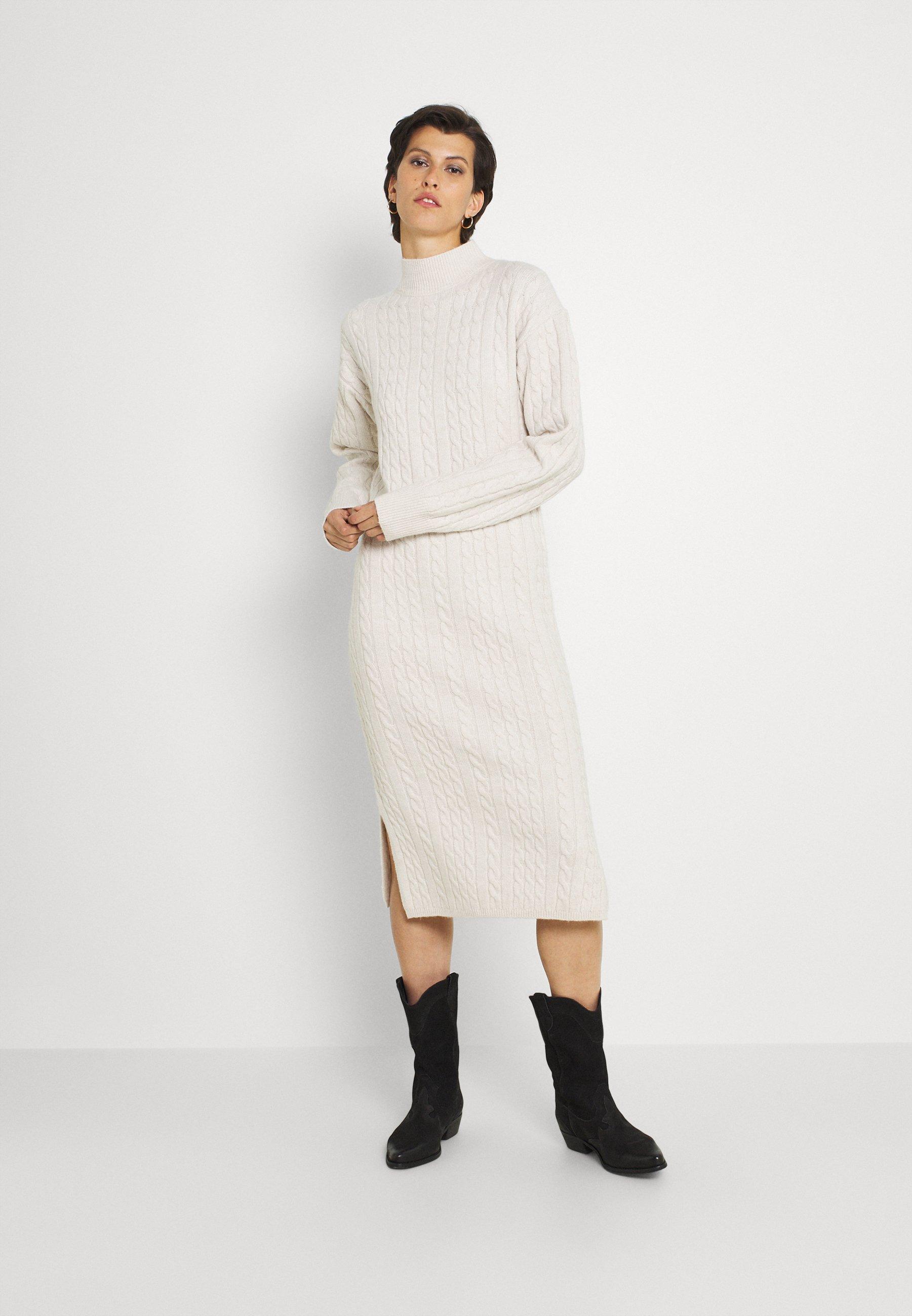 Mujer JOANSIE HIGH NECK CABLE MIDI DRESS - Vestido de punto