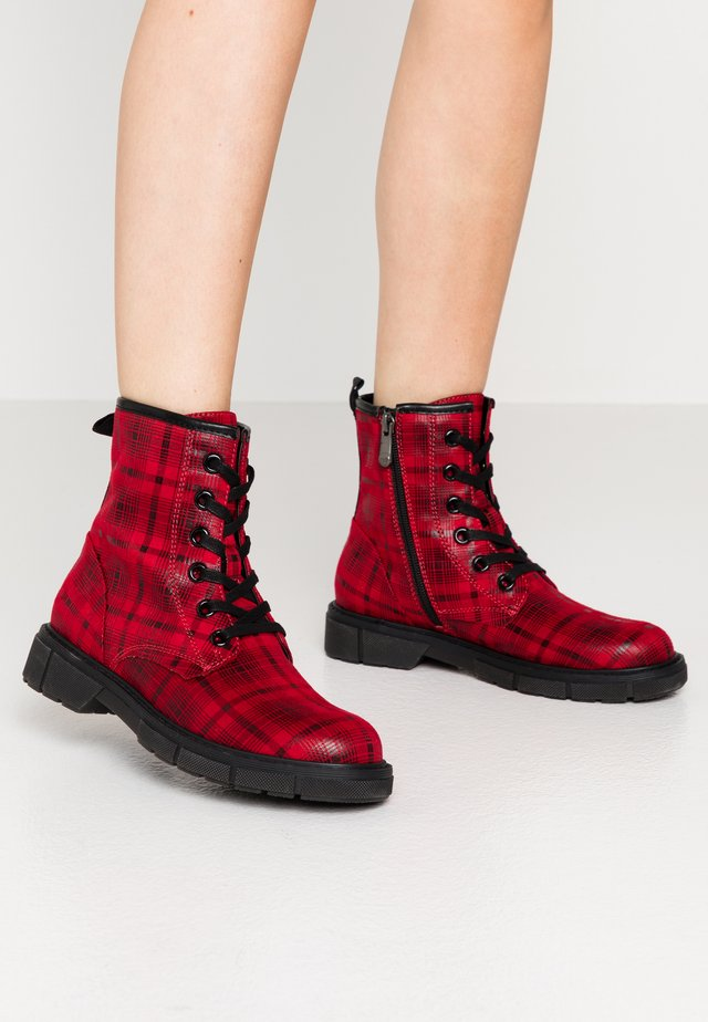 Lace-up ankle boots - red/multicolor