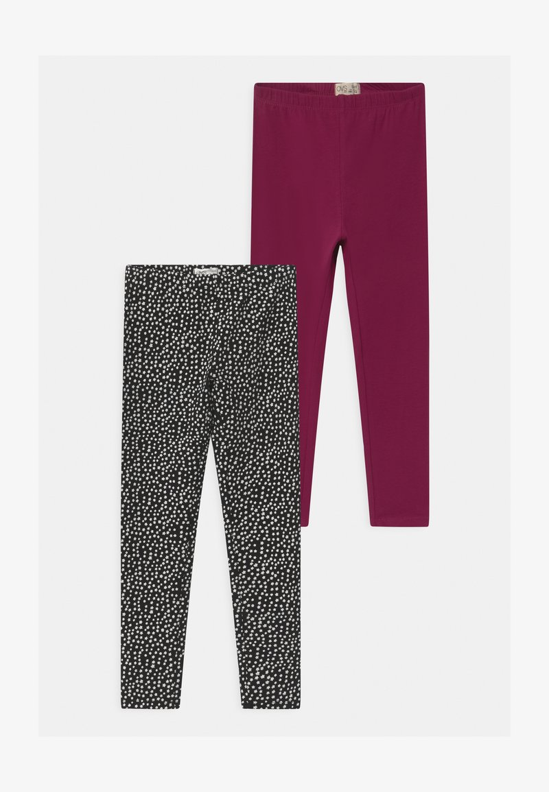 OVS - 2 PACK - Leggings - Trousers - red plum
