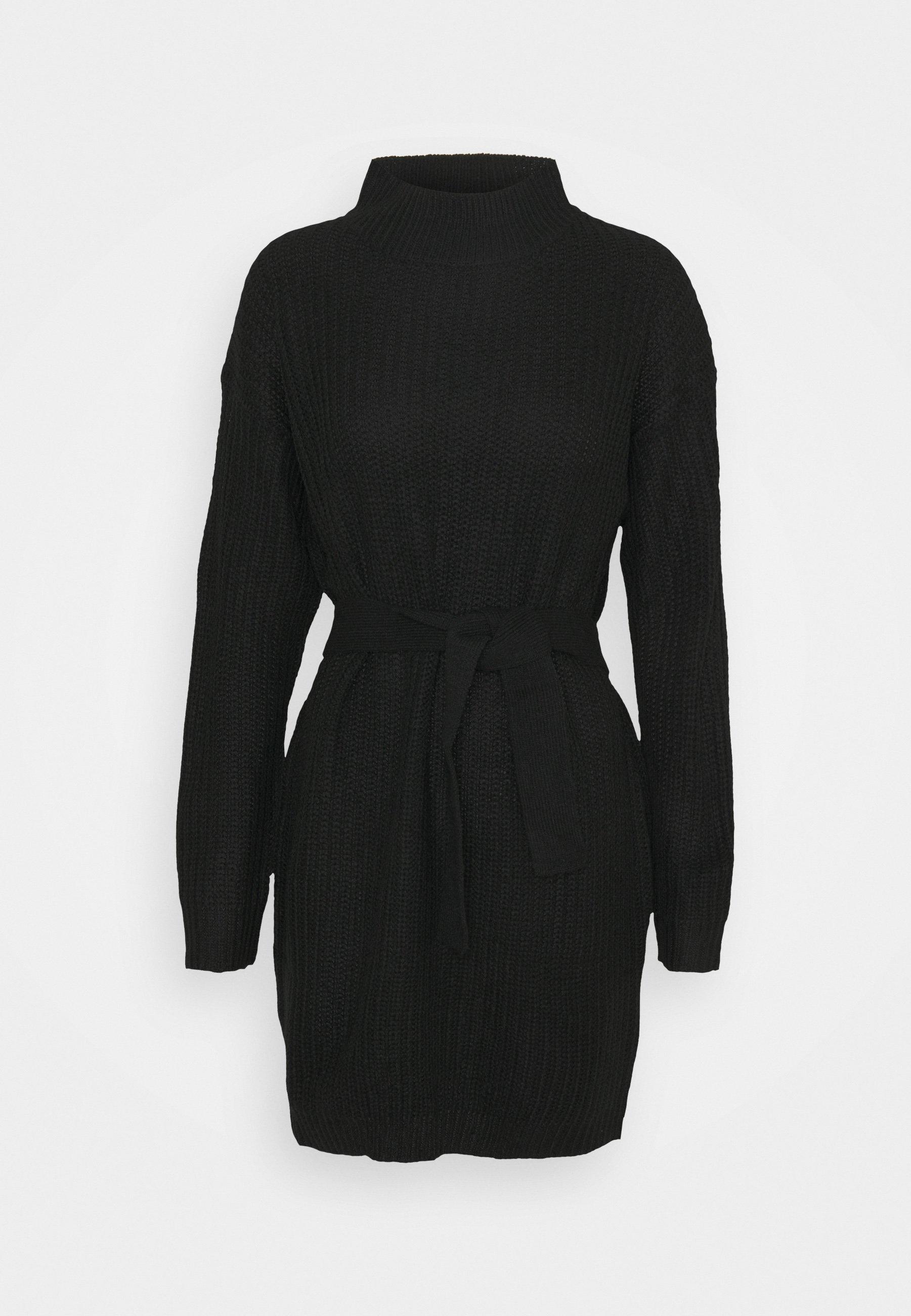 Women NECK BASIC DRESS WITH BELT - Jumper dress